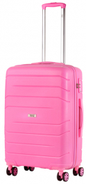 Чемодан из полипропилена TravelZ Big Bars (M) Pink 927274