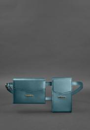 Кожаная сумка на пояс Blanknote Mini BN-BAG-38-MALACHITE