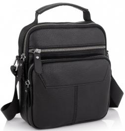Сумка через плечо черная мужская кожаная Tiding Bag A25F-1436A