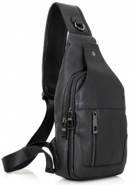 Кожаный черный слинг Tiding Bag 4004A