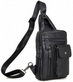 Кожаный черный слинг Tiding Bag 4006A